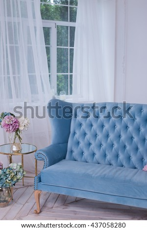 Blue sofa in a bright room