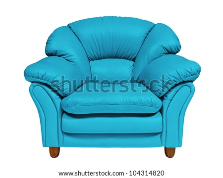 Blue sofa on white background with clipping path - stock photo
