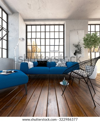 Blue Sofa Set In The Modern Living Room   3 D Render Using 3 D S Max Part 48