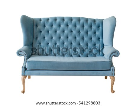 Blue soft sofa with fabric upholstery isolated on white