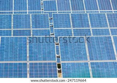 Blue Solar Energy Panels - Green Energy System - stock photo