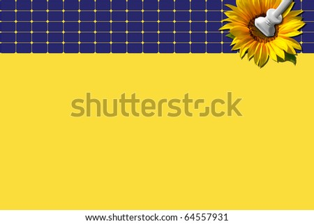 Blue solar panel with sunflower and plug against yellow background - stock photo