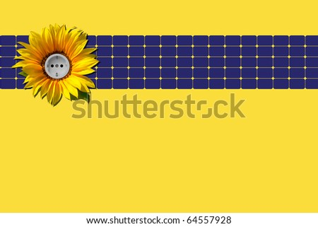 Blue solar panel with sunflower and socket against yellow background - stock photo