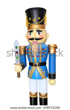 Blue soldier nutcracker on white background - stock photo