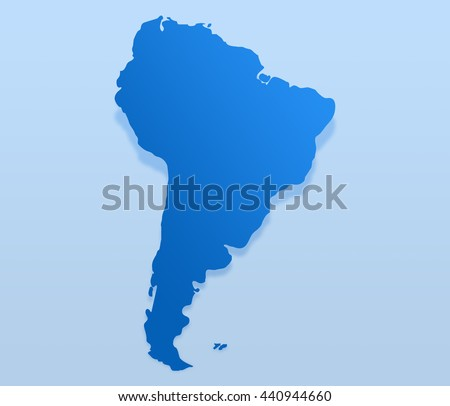 Blue South America map. South America map blank - stock photo