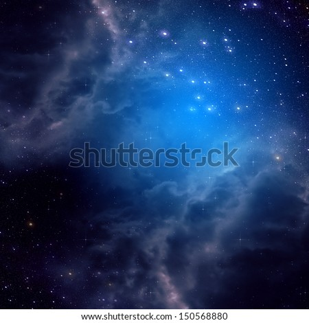 Blue space background with clouds and stars. - stock photo