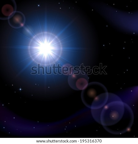 Blue space background with stars and shining sun, illustration.