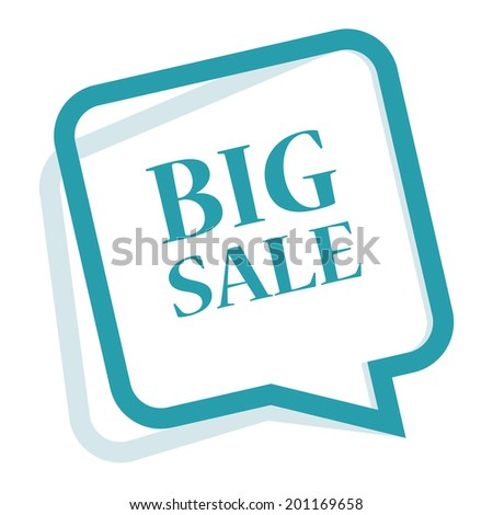 Blue Speech Bubble Big Sale Icon, Sticker or Label Isolated on White Background - stock photo