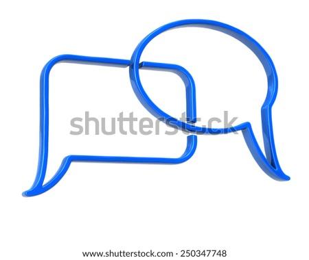 Blue speech bubbles icon - stock photo