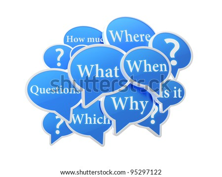 Blue speech bubbles with questions