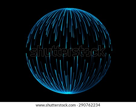 blue sphere and black background - stock photo