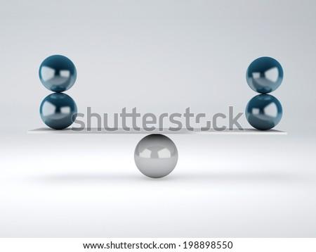 blue spheres in equilibrium. Balance concept - stock photo