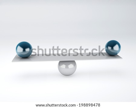 blue spheres in equilibrium. Balance concept. isolated white - stock photo