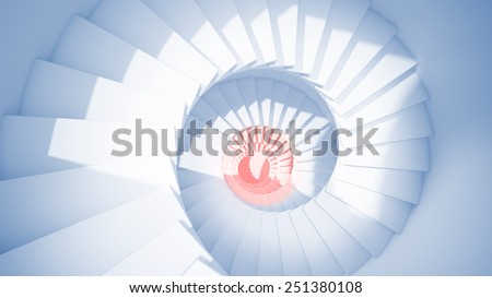 Blue spiral stairs in sun light and red center abstract 3d interior - stock photo