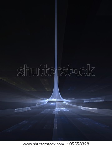 Blue spire science fiction abstract fractal design for backgrounds and wallpapers - stock photo