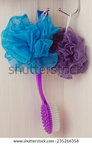 blue sponge hanging on a hook in the bathroom - stock photo