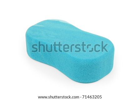 Blue sponge on white background