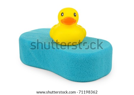 Blue sponge with yellow duck