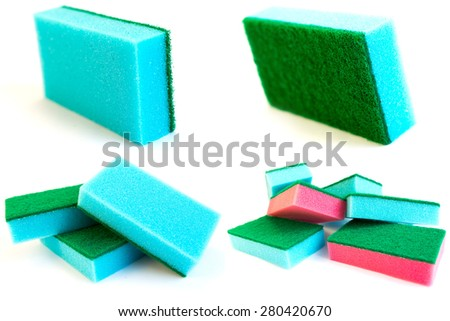 Blue sponges collection isolated on white. - stock photo