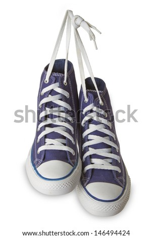 Blue sport shoes isolated on white background.  - stock photo
