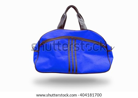 Blue sports bag,with clipping path - stock photo