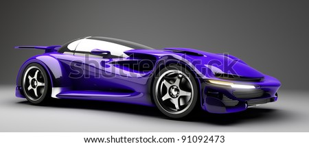 blue Sports car road-star 3d render (No trademark issues as the car is my own design)