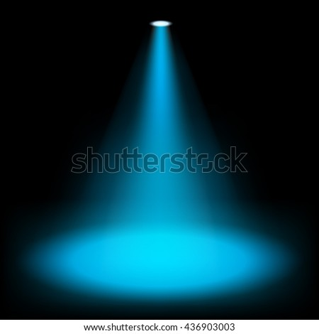 Blue spotlights shining on darkness background