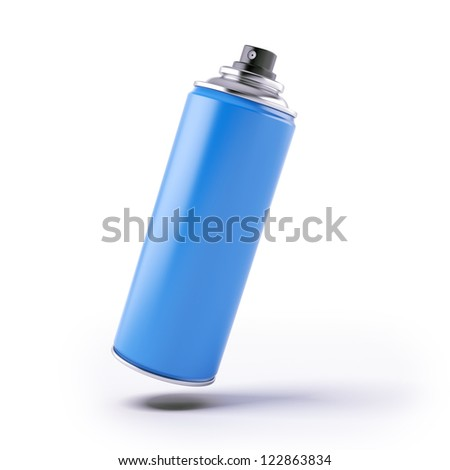 Blue spray can isolated on a white background - stock photo