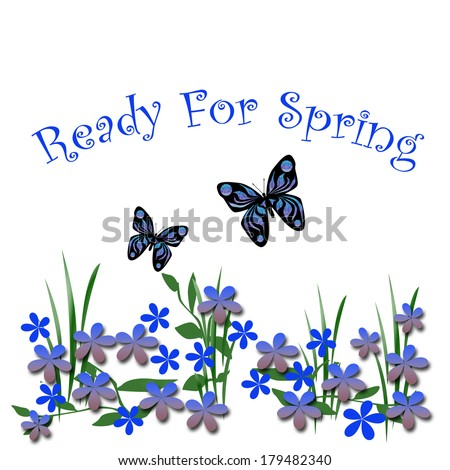 blue spring flowers and butterflies on white illustration - stock photo