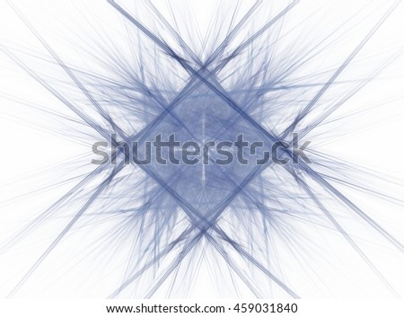 Blue square abstract fractal with intersecting lines