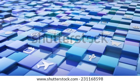 blue square background with media technology icons - stock photo