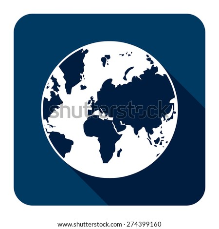 Blue Square Earth Planet Flat Long Shadow Style Icon, Label, Sticker, Sign or Banner Isolated on White Background - stock photo