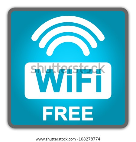 Blue Square Glossy Style Icon With WiFi Free Sign Isolate on White Background - stock photo