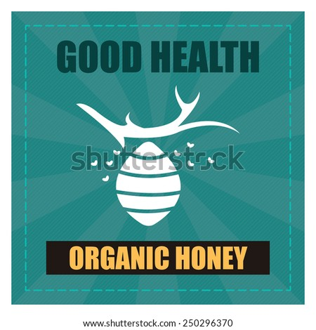 Blue Square Good Health Organic Honey Poster, Banner, Label or Sticker Isolated on White Background  - stock photo