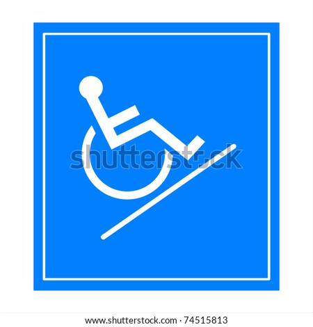 Blue square handicap sign with wheelchair  ramp - stock photo
