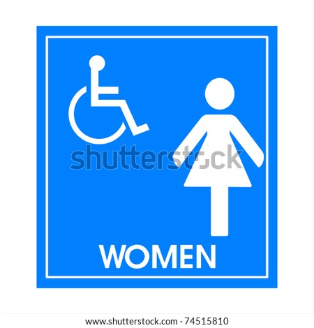 Blue square handicap sign with wheelchair  woman - stock photo