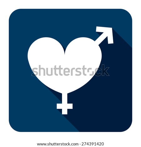Blue Square Heart With Male and Female Sign Flat Long Shadow Style Icon, Label, Sticker, Sign or Banner Isolated on White Background - stock photo