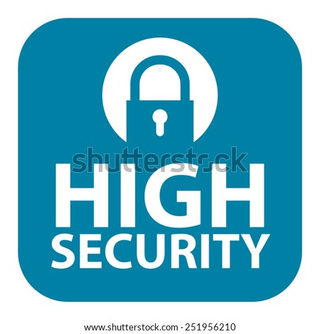 Blue Square High Security Icon, Sign, Sticker or Label Isolated on White Background  - stock photo