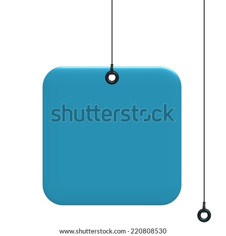 Blue Square label, fixed by a rivet and hung on by a black thread, isolated on white background