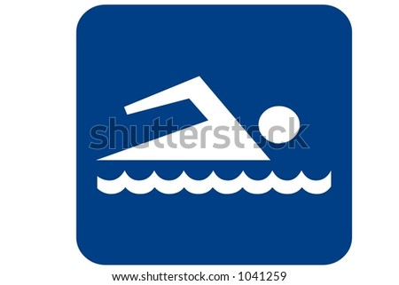 Blue Square Recreational Sign displaying the international symbol for swimming isolated on a white background - stock photo
