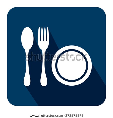 Blue Square Restaurant, Bistro, Cafeteria or Food Center Long Shadow Style Icon, Label, Sticker, Sign or Banner Isolated on White Background - stock photo