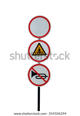Blue square traffic sign for pedestrian crossing against white background - stock photo