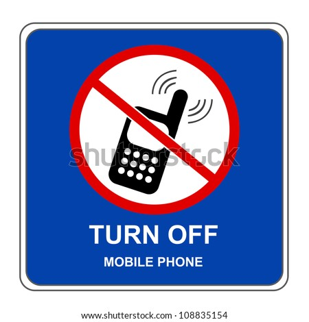 Blue Square Turn Off Mobile Phone Sign Isolated on White Background - stock photo