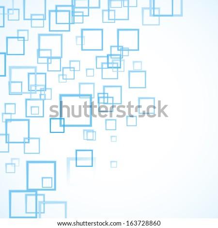 blue squares flying background - stock photo