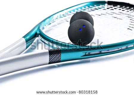 Blue squash racket with balls on white background