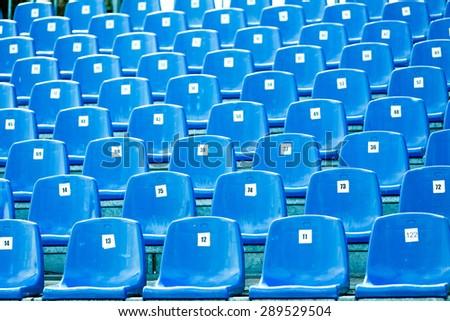 blue stadium seats - stock photo