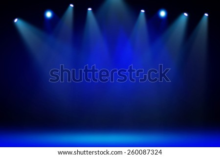 Blue stage light background - stock photo