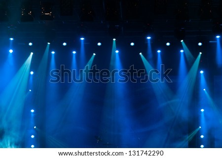 Blue Stage Lights, light show at the Concert - stock photo