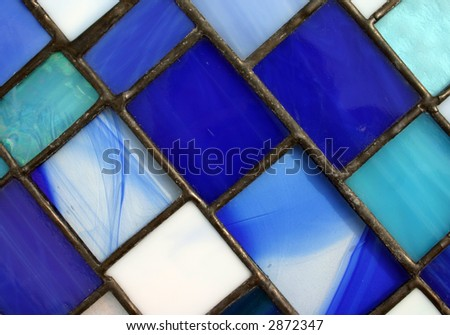 Blue stained glass panel