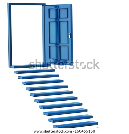 Blue stairs and open doors - stock photo